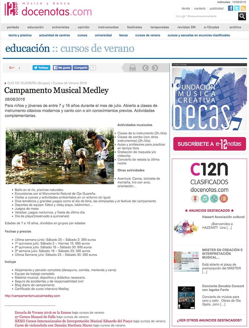 campamento musical medley en 12 notas